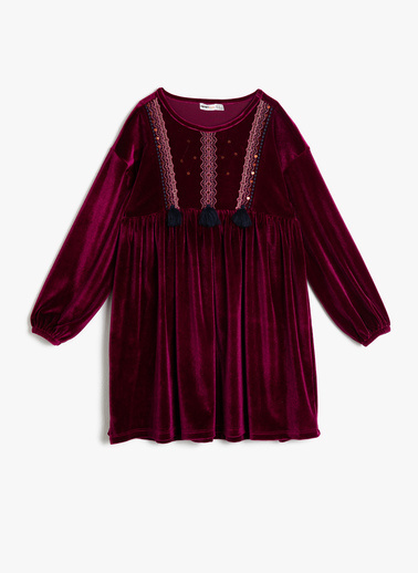 Koton Kids İşlemeli Elbise Bordo